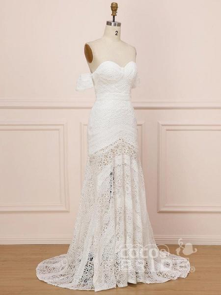 Elegant Sweetheart Lace Mermaid Boho Wedding Dresses_3