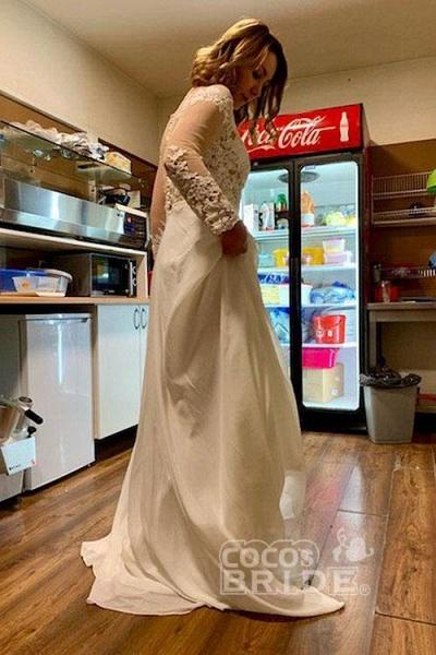 Modest Long Sleeves Lace A-Line Ruffles Wedding Dresses_4