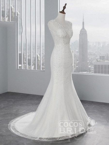 Elegant Lace Appliques Mermaid Pleated Wedding Dresses_2