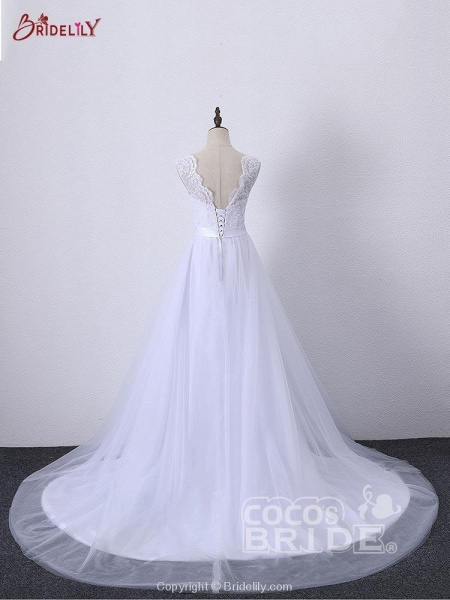 Illlusion A-Line Lace-Up Ribbon Wedding Dresses_4