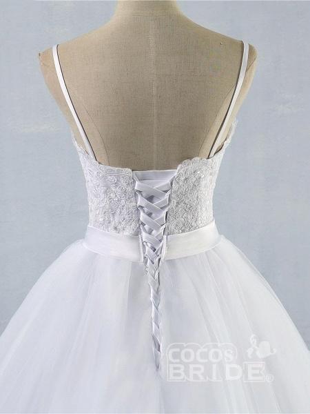 Elegant Spaghetti-Strap Lace Sashes Tulle Wedding Dresses_5