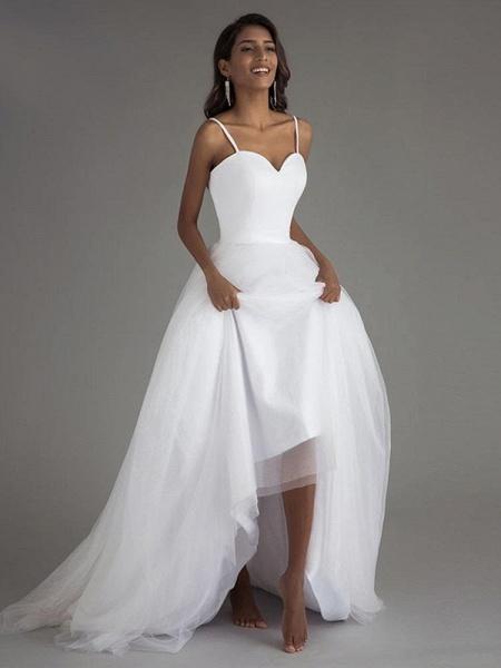 A Line Spaghetti Strap Beach Wedding Dresses White Tulle Bridal Gown_1