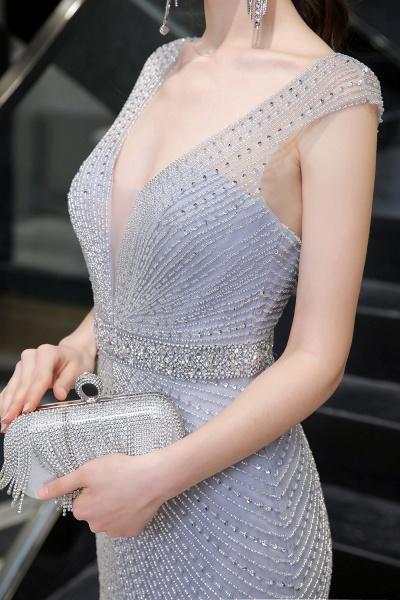Sexy Mermaid V-neck Silver Long Prom Dress_9