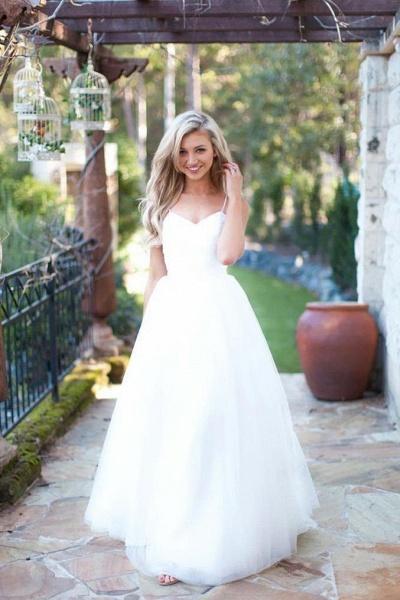 Hot Summer Boho Beach Tulle Spaghetti Straps Wedding Dress_1