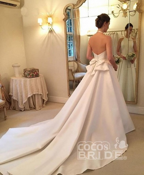 A Line Halter Satin Simple Backless Sleeveless Wedding Dress with Bow_6