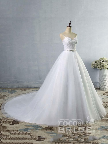 Elegant Spaghetti-Strap Lace Sashes Tulle Wedding Dresses_3