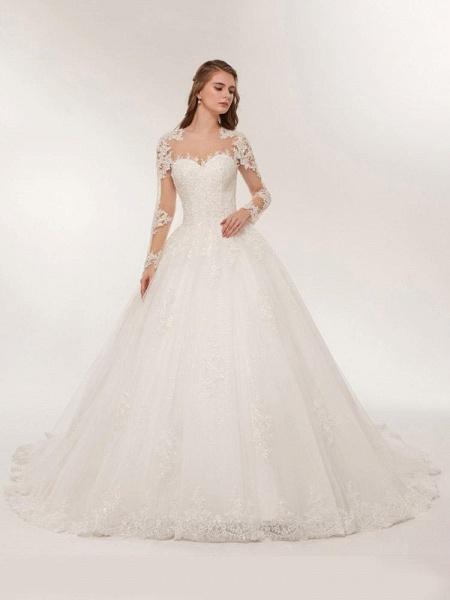 Elegant Long Sleeves Lace Appliques Wedding Dresses_1