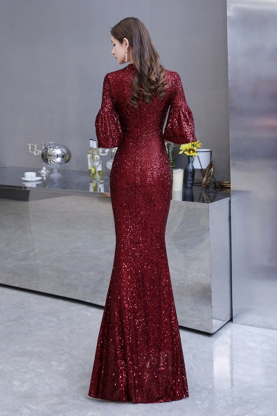 Burgundy Short Sleeve Sequins Long Prom Dress_8