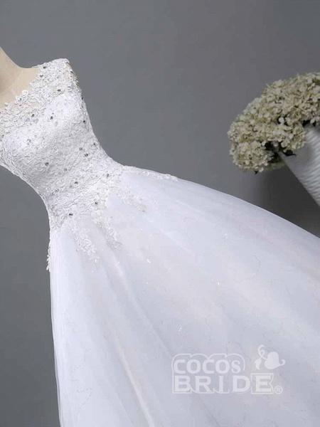 Elegant Beads Lace-Up Ruffles Wedding Dresses_4