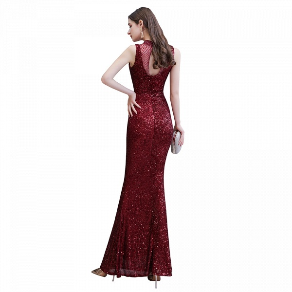 Gorgeous Mermaid Burgundy Sequins Long Prom Dress_12