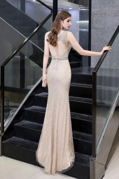 Sexy Mermaid V-neck Silver Long Prom Dress_27