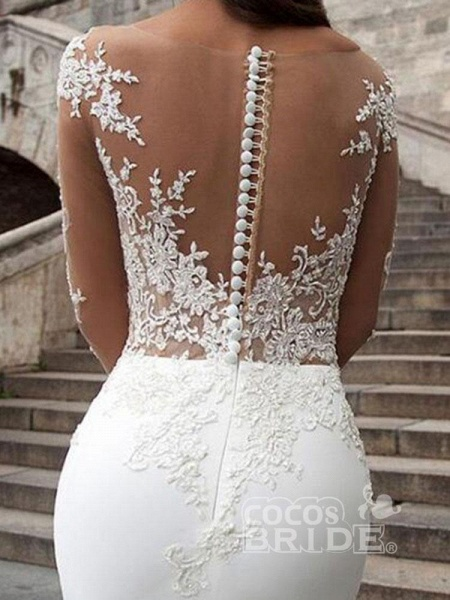Glamorous Long Sleeves Appliques Mermaid Wedding Dresses_4