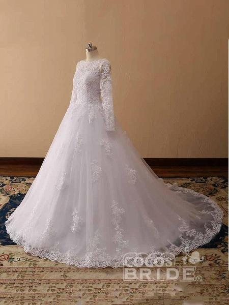 Long Sleeves Lace Tulle Mermaid Wedding Dresses_6