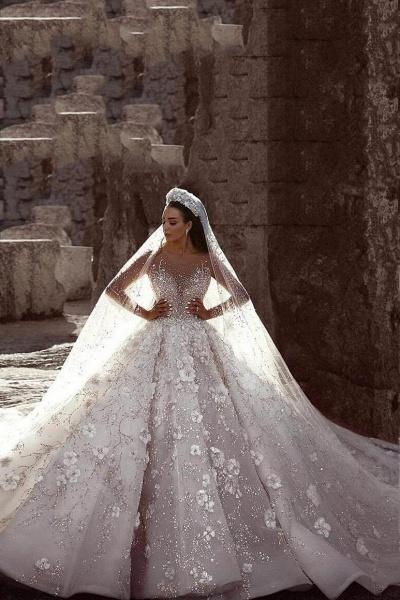 Luxury Beaded Long Sleeve Lace Ball Gown Wedding Dress_1