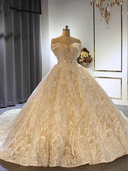 Elegant Off the shoulder Lace-Up Ball Gown Wedding Dresses with Train_1