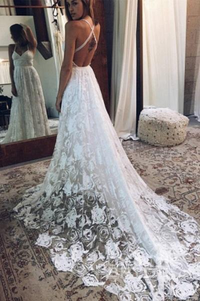 A Line Floor Length Split Beach Lace Wedding Dress_2