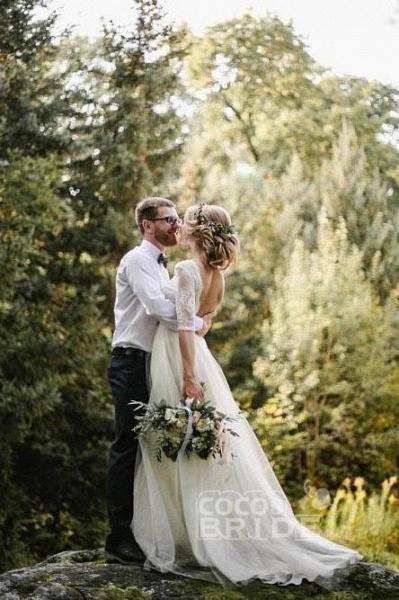 Puffy Half Sleeves Backless Floor Length Long Beach Wedding Dress_2