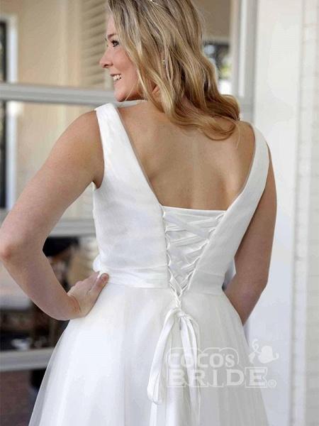 Elegant V-Neck Sleeveless Tea Length Lace Up Short Wedding Dresses_3