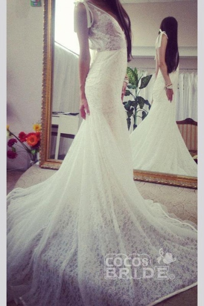 Neck Sleeveless Mermaid Gown With Deep V Back Long Lace Wedding Dress_3