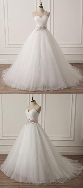 White Tulle Backless Long Beaded Applique Long Wedding Dress_4