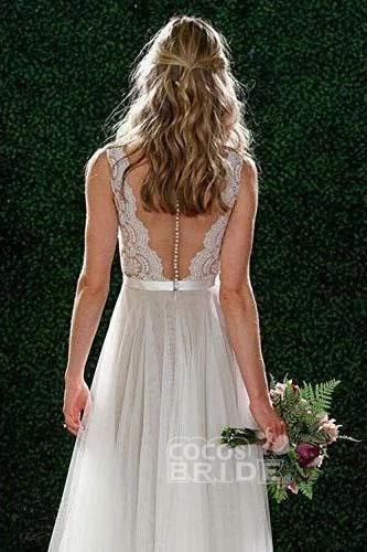 A Line Floor Length V Neck Sleeveless Tulle Beach Wedding Dress with Lace_2