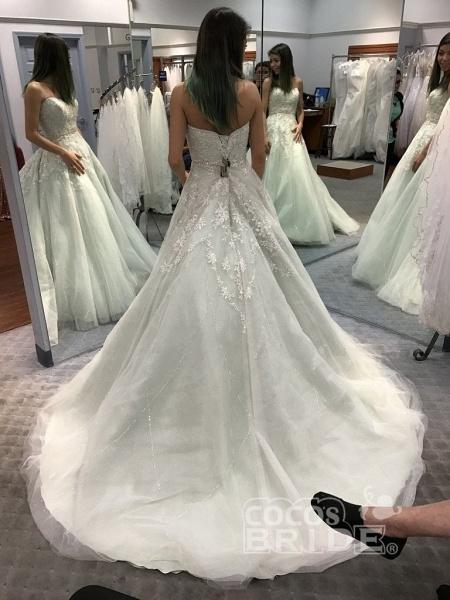 Precious Shinny Beaded Strapless Ball Gown Wedding Dress_2