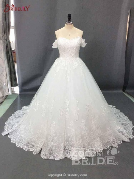 Glamorous Off-the-Shoulder Beads Ball Gowns Wedding Dresses_2