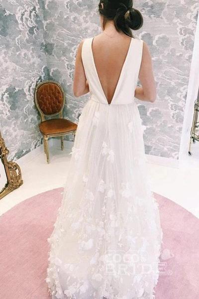 A Line V Neck Floor Length Ivory Sleeveless Wedding Dress_2