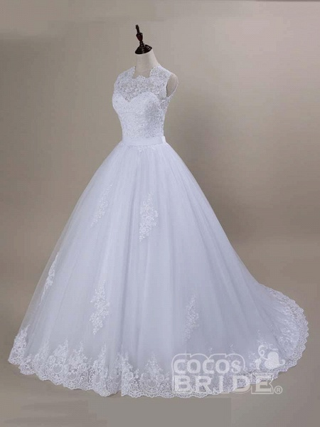 Modest Lace Covered Button Ball Gown Wedding Dresses_3