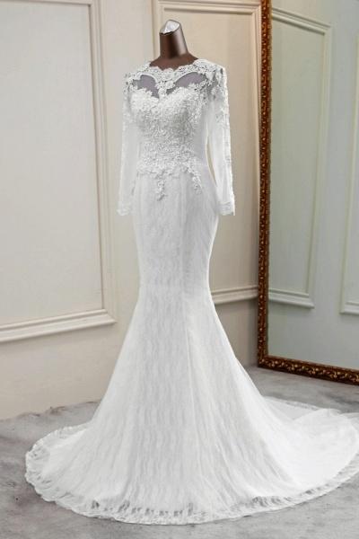 Elegant Mermaid Tulle Jewel Long Sleeves Wedding Dress_3