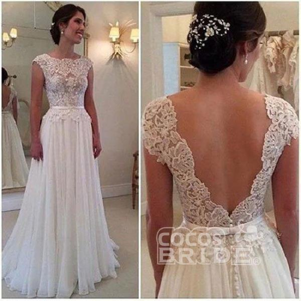 A-line Lace Appliqued Cap Sleeves Ivory Chiffon Long Beach Wedding Dress_3