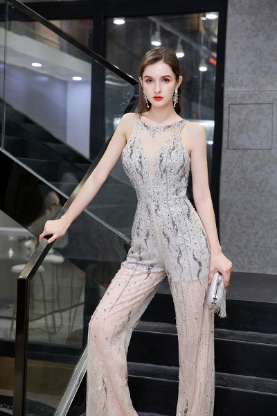 Jewel Sleeveless Tulle Evening Jumpsuit with Sequins_9