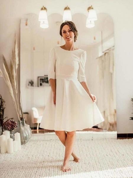 Modest Half Sleeves Open Back Short Wedding Dresses_1