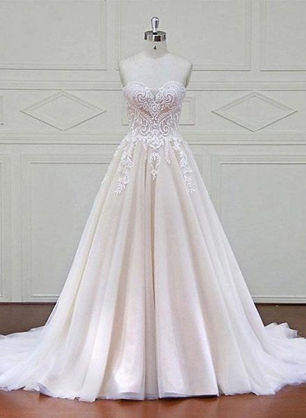 Ivory Tulle Sweetheart A Line Long Wedding Dress_2