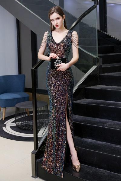 V-Neck Sequins Long Evening Dress With Split_17
