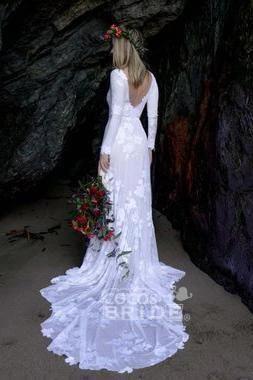 Ivory Long Sleeve Rustic Backless Sheath Beach Wedding Dress_5