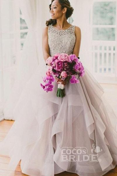 Sexy Backless A-Line Beading Long Beach Wedding Dress_2