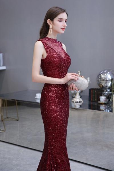Gorgeous Mermaid Burgundy Sequins Long Prom Dress_9