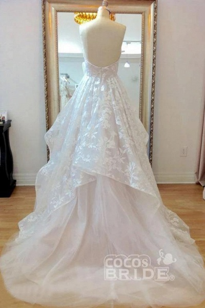 A-line Sweetheart Lace Appliqued Court Train Wedding Dress_4
