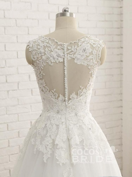 Elegant V-Neck Lace Ball Gown Wedding Dresses_6
