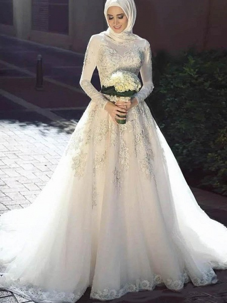 Modest Long Sleeves Lace Tulle Wedding Dresses_1