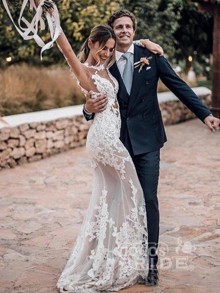 Appliques Long Sleeve Lace Mermaid Wedding Dresses_3