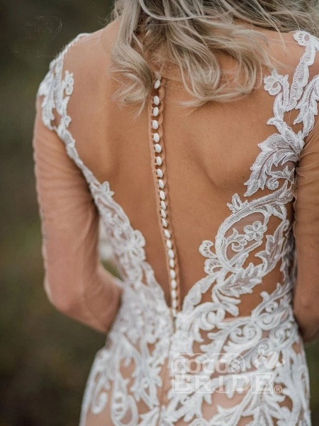 Amazing Long Sleeves Boho Lace Appliques Wedding Dress_7