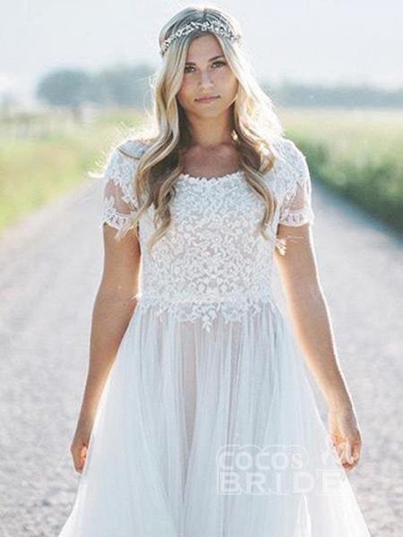 Elegant Short Sleeves Lace Tulle Wedding Dresses_6