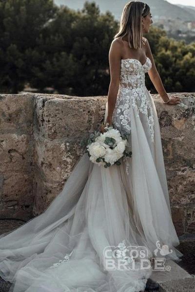 Boho Sweetheart Tulle Long Beach Charming Appliques Wedding Dress_3