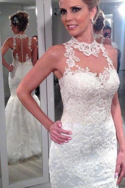 Lace High Neck Mermaid Backless Custom Beach Wedding Dress_1