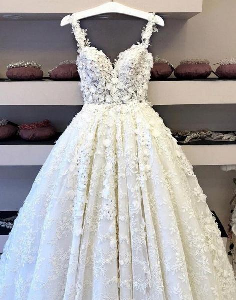White Flower Lace Sweetheart Long Halter Wedding Dress_2