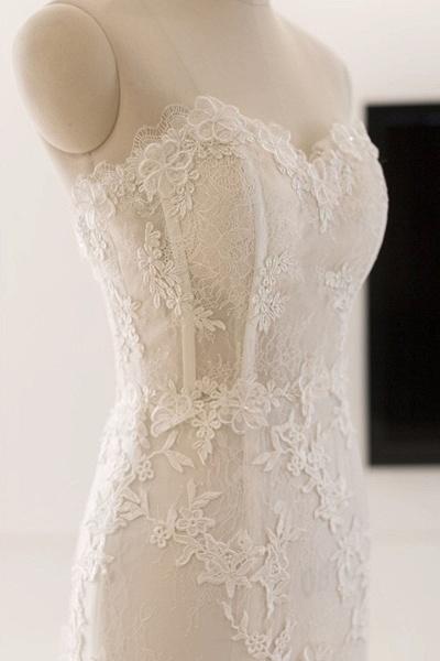 Sweetheart White Tulle Lace Sweep Train Mermaid Wedding Dress_2