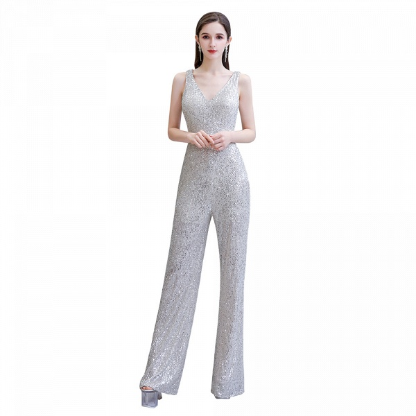 Sexy Shining V-neck Sleeveless Prom Jumpsuit with Silver Sequins_2