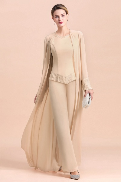 Two Pieces Champagne Long Sleeve Chiffon Mother of the Bride Dress With Jacket_5